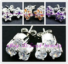 Pretty cute fashion flower sparkle CZ crystal silver stud earrings