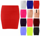 Ladies Ribbed Bandage Zip Skirt Womens Bodycon Party Panel Skirt Plus Size 8-16
