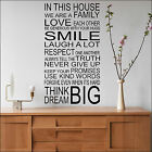 LARGE QUOTE IN THIS HOUSE RULES FAMILY SMILE ART WALL STICKER  TRANSFER DECAL