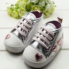 Kid Toddler Baby Infant Girl Cute Crib Heart Shoes Walking Soft Sneaker Lace Up