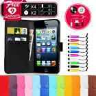 Wallet Flip Leather Case Cover Pouch For iPhone 5 Free Screen Protector & Stylus