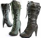 Breckelle Fashion Lace Up Mid-Calf Military High Heel Riding Boot Womens Shoes