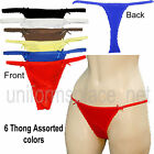 6 SEXY COTTON  LACE THONG PANTIES LP1210T2 LOT S/5 M/6 L/7 XL/8 WITH 2 SIDE BOWS