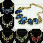 Fashion Vintage Golden Chain Irregular Conch Resin Bead Bib Pendant Necklace N38