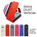NEW SAMSUNG GALAXY FAME S6810 PREMIUM FLIP TOP SPARKLING LEATHER CASE COVER