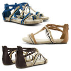 NEW LADIES ON TREND ROPE DETAIL GLADIATOR FLAT ZIP UP SANDALS COMFY SUMMER SHOES