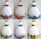 Customize infant toddler teen bridal party white rose petal flower girl dress