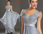 eDressit Short Sleeeves Lace Back Grey Evening Dress Prom Ball Gown UK 6-20