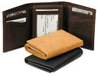 NEW GENUINE LEATHER TRI FOLD WALLET WITH FLIP UP ID HOLDER