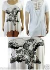 FAMOUS LARGER LADIES STORE STUDDED CREAM OWL DIPPED HEM TOP 16 18 20 22/24 26/28