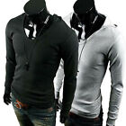 New Mens Stylish Polo dress Shirts Slim Fit Long Sleeve Casual T-Shirts Hooded