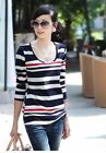 Casual Ladies Women's Cotton Long Sleeve strip o scoop neck T shirt Tops Blouse