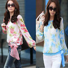 Women's Flower Print Pattern Casual Puff Long Sleeve Chiffon Blouses Tops Shirt