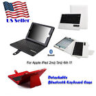 Bluetooth Detachable Plastic Keyboard Leather Cover Case for Apple iPad 3rd/4th