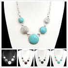 Turquoise Shell Silver Plated Alloy Necklace XC703