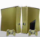WOW 3D Gold Carbon Fiber Skin STICKER For X BOX 360 Console controllers Decal