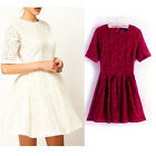 European Style Womens Lace Dress Floral Solid Short Sleeve Round Neck Dress