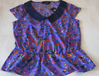 S M L Jessica Simpson Top w Collar Cap Sleeves Floral & Navy MSRP$49