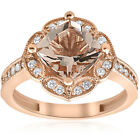 2 1/3ct Cushion Morganite Vintage Diamond Ring 14K Rose Gold