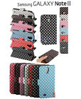 Samsung Galaxy Note II N7100 Polka Dots Stand Flip Case Cover Note 2