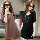 Lady Stylish Short Sleeves Lace Loose Slim Casual T-shirt Blouse Mini Dress Top