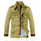 HF1040 New Mens Casual Parka Slim Fit Warm Winter Canvas Cotton Jackets Coats