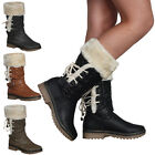 WOMENS FAUX FUR LINED LADIES GRIP SOLE FLAT WINTER CALF BOOTS SHOES SIZE 3-8