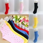Women/Girl Lace Cuffs Ruffle Frilly Cotton Stretchy Ankle Opaque Socks One Size