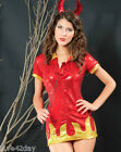 Sequin Red Hot Devil Shirt Top Mini Queen Set Medium M Cute Halloween Costume