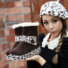 Women's New Leopard Printed Platform Wedge Pull On Round Toe Ankle Snow Boots