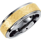 Hammered Finish 8.3mm Dura Tungsten™ Ridged Band with & 10kt Yellow Gold Inlay