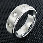 Tungsten Men's Triple 0.15 Carat CZ Band Ring Size 8-13