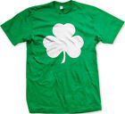Big White Three Leaf Clover Shamrock Irish Pride St. Patrick's Day Mens T-Shirt