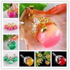 Drum Jade Gem Bead Clear Crystal Clasp Lucky Pendant Fit Necklace Jewelry DIY