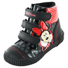 Girls SIZE 6 - 12 Black Red MINNIE MOUSE Patent Velcro Boots MISCHIEF