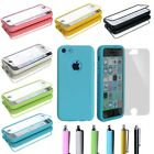 For Apple iPhone 5C C Colorful TPU Wrap Up Touchable Flip Case Cover+Stylus+Film