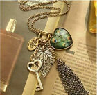 Fashion Heart Love Key Leaf Crown Tassels Purl Charm Huir Peacock Necklace