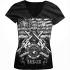 United States Marine Corps First In Last Out USMC Girls Junior V-Neck T-Shirt
