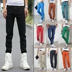 Men Slim Fit Skinny Stretch Pencil Jeans Casual Candy Color Demin Pants Trousers