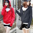 New Fingerless Thumb Hole Long Sleeve Womens Zip-up Hoodies Outwear Sweats Tops