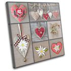 Hearts shabby chic Love SINGLE CANVAS WALL ART Picture Print VA
