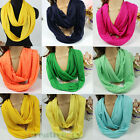Round Casual Solid Jersey Knit Infinity Loop Cowl Contton Blend Eternity Scarf