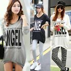 "New ""ANGEL"" Letters Womens Long Sleeve Hoodies Outwear Sweats Tops Asymmetric"