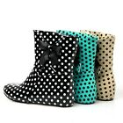 Women's Hot Polka Dot Ankle Boots Hidden Wedge Bowknot Patent Leather Rain Boots