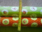 Floral Waterproof Coated Cotton Fabric -  Dots Green or Green, Shabby Chic look