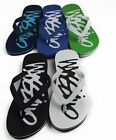 NEW MENS MOSSIMO SCRIPT THONGS MANMADE  FLIP FLOPS BEACH CASUAL SUMMER SHOES
