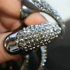 Punk Bling Rhinestone Crystal Claw Talon Ring False Nail Cat Woman Cosplay Trend