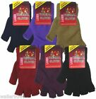 Ladies Girls Womens Thermal Warm Knitted Gloves One Size Assorted Colours