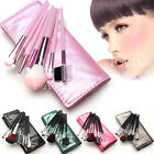 7pcs Makeup Brushes Set Foundation Eyeshadow Eyeliner Blusher Leather Case Pink