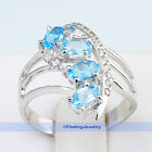 Genuine 925 Sterling Silver Birthstone Jewelry Swiss Blue Topaz Ring Size 7.75 7